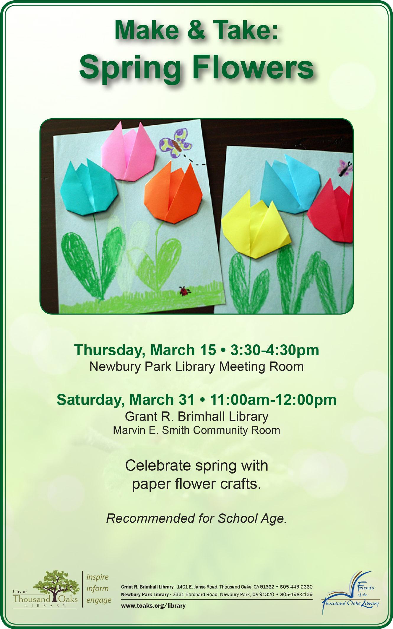 Make Take Spring Flowers Calendar Month View Thousand Oaks Ca