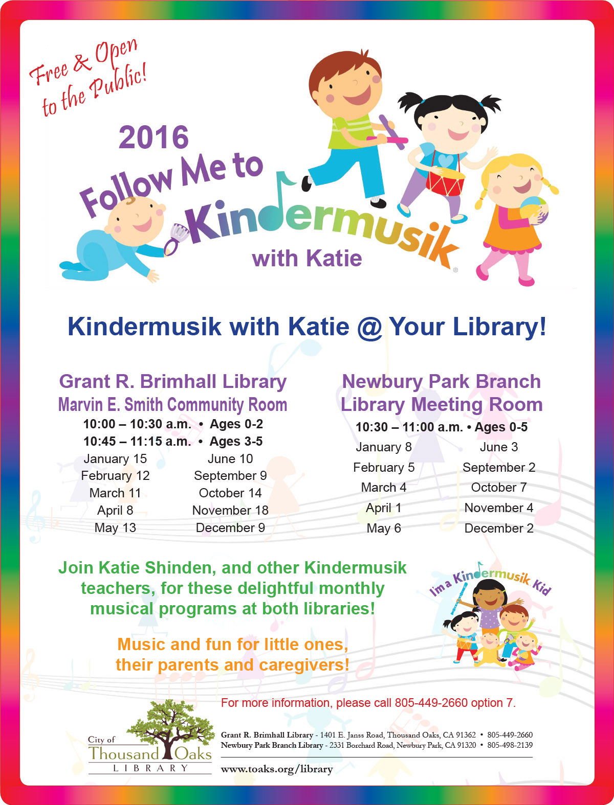 Kindermusic With Katie Calendar Month View Thousand Oaks Ca