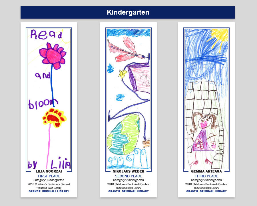 Grant R Brimahll Kindergarteni Bookmark Winners