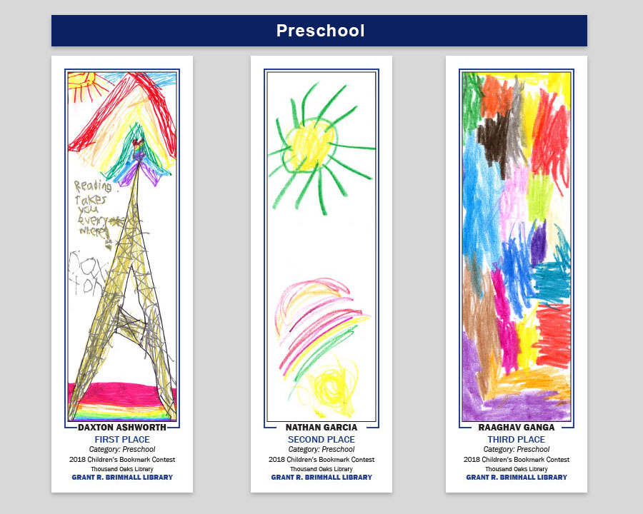 Grant R Brimhall Library Preschool Bookmark Winners