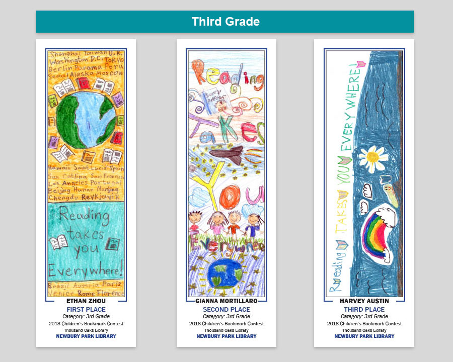 Newbury Park Library 3rd Grade Bookmark Winners
