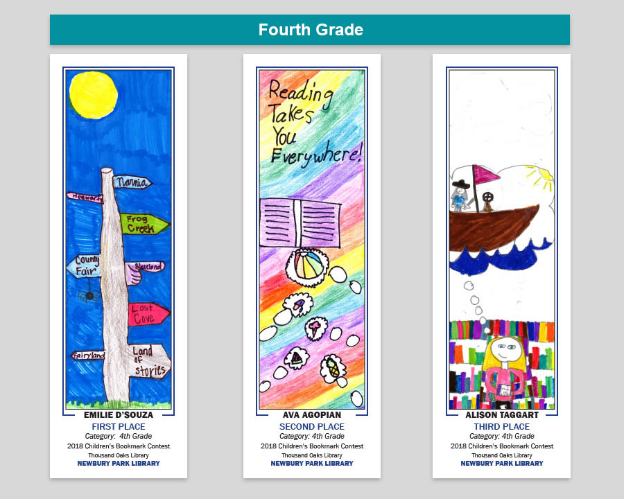Newbury Park Library 4th Grade Bookmark Winners