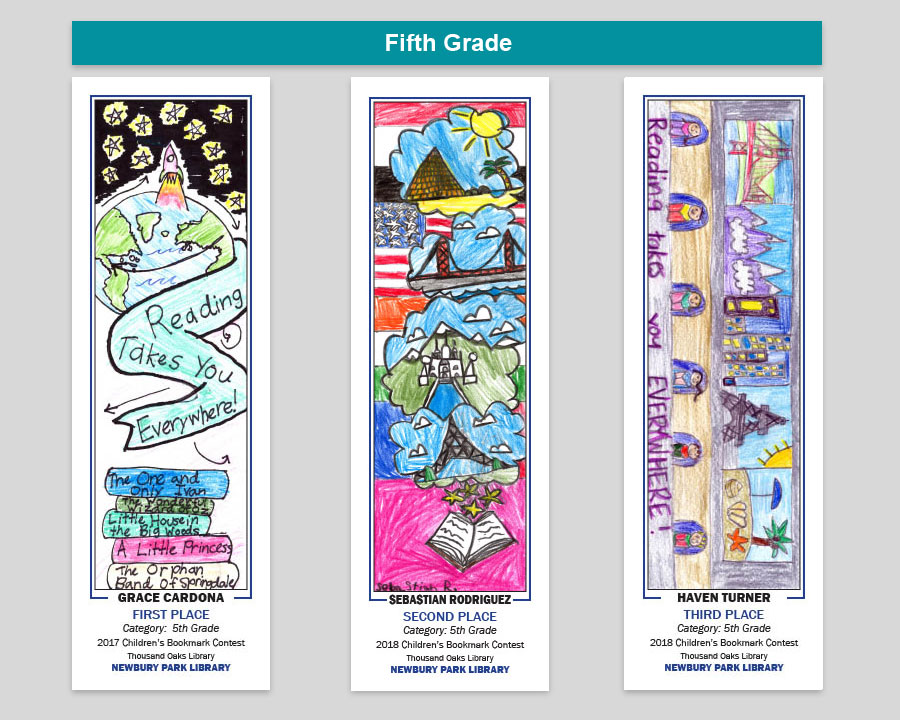 Newbury Park Library 5th Grade Bookmark Winners