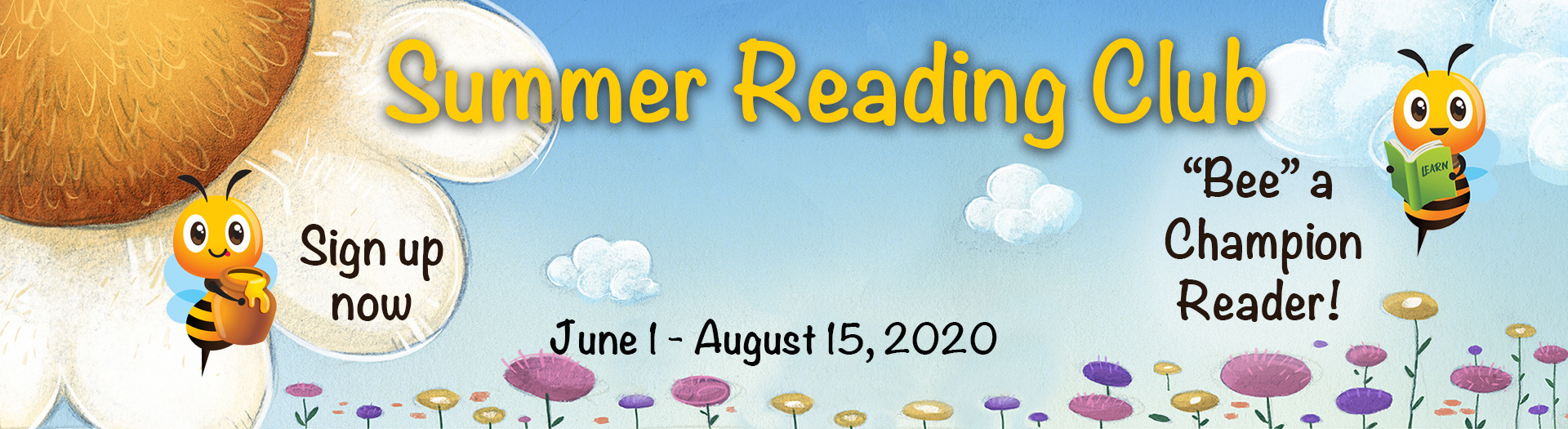 Bee summer reading library website banner