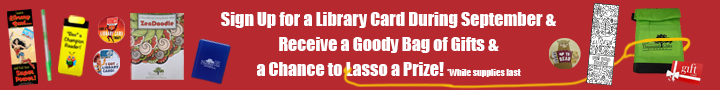 Library Card Signup Month 2020 Prizes banner 720x90